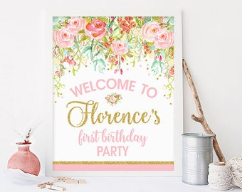 Floral welcome sign printable, wedding welcome sign, first birthday party welcome sign, baby shower welcome sign, sweet 16, print No. 001