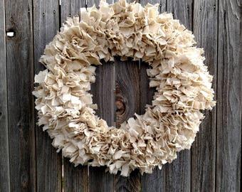 Large Rustic Rag Wreath - 22 Inch