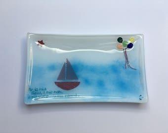Rectangular personilised fused glass bowl