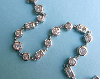 Sterling Silver Bracelet with Clear Stones - Rectangles and Circles