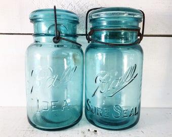 Pair of Hinged Blue Glass Ball Jars w/ Original Lids/Farmhouse Kitchen Green/Blue Glass Ball Jars/Shabby Chic No. 3 & No. 7 Glass Ball Jars