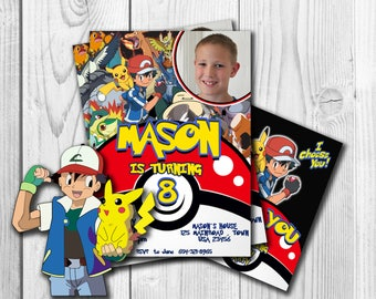 Pokemon Invitation ,  Pokemon with Photo, Pokemon Party, Pokemon, Pokemon Invites, Personalised Pokemon, Ash, Pikachu , Free thank you card