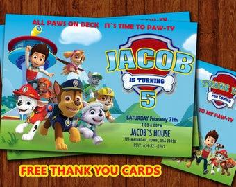 Paw Patrol invitation, Paw Patrol Birthday, Paw Patrol Party, PawPatrol Invite, Custom, Personalised Invitation, Paw Free thank you cards