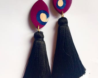 TASSELHOFF drop earrings in plum, peach and navy with lucsious black tassels