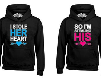 Couple Hoodies I Stole Her Heart, So I'm Stealing His Heart Couples Cute Matching Love Couples Valentine's Day Gift