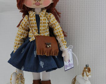 Cowgirl Handmade doll Art doll Interior doll Home decoration Textile doll Personalized doll Doll for girl Christmas present
