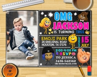 Emoji Invitations/Emoji Birthday Invitations/Emoji Pool Party Invitation/Emoji Invitations With Photo/Emoji Invites/Emoji/Birthday Emoji