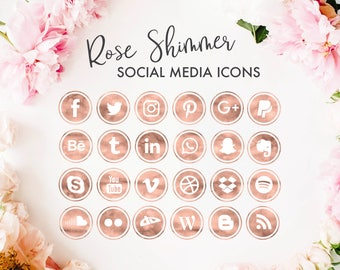 Social Media Icons | Rose Gold Glam Watercolor Gold Foil Glitter Design| for photography, fashion, blog, website design | png files