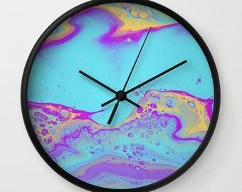 Wall Clock, Original Art Print Clock, Interior - Spring Bubbles. Custom Order, Pre Order