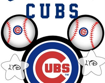 Chicago Cubs Mickey Head Iron On Transfer