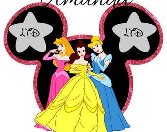 Disney Princesses Personalized Mickey Head Iron On Transfer