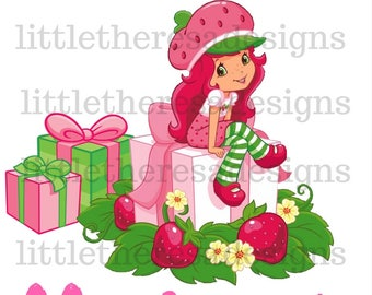 Strawberry Shortcake Birthday Present  Birthday Girl Transfer,Digital Transfer,Digital Iron On,Diy
