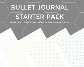 8.5 X 11 Bullet Journal Dotted Paper Starter Pack PDF Download in 4 Colors!
