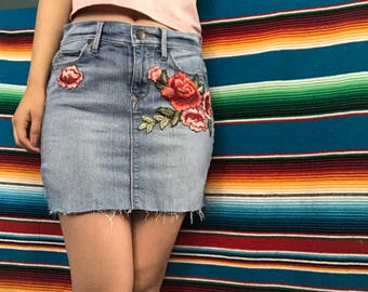 Floral, Bottom distressed jean skirt