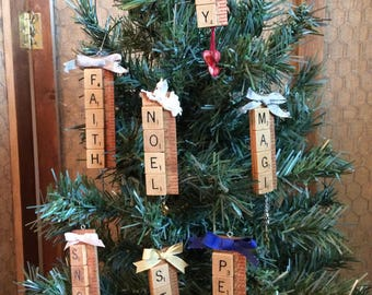 Christmas Ornaments from Scrabble Tiles and Yardsticks