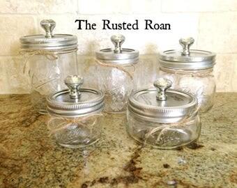 Clear Single Mason Jar With Glass Knob Lid, Mason Jar Decor, Mason Jar Kitchen Decor, Mason Jar Bathroom Decor, Mason Jar Bath Set,Farmhouse
