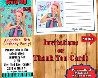 JoJo Siwa Birthday Invitation 10 each or Thank You Cards With or Without Envelopes Personalized Custom Made