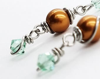 Stainless Steel Wire-Wrapped Swarovski Crystal Earrings