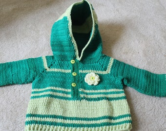 Green Hooded Toddler Sweater