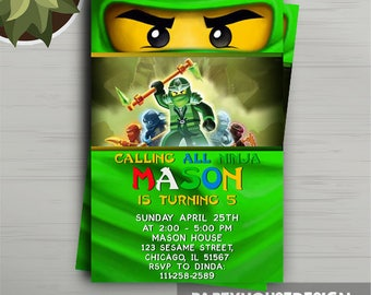 Ninjago Invitation, Ninjago Party Supplies, Ninjago Birthday, Lego Ninjago, Ninjago Invitation Printable, Ninjago Invite, Ninjago Party