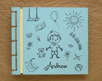 Personalized Kid's Photo Album Handmade Scrapbook, Birthday Boy, Cute Cartoon Drawing