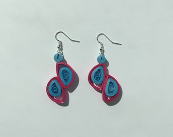 Magenta and blue paper dangle earrings