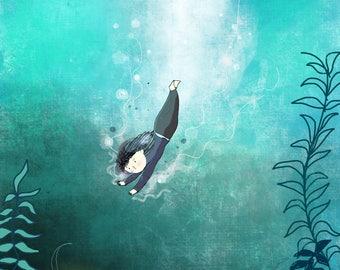 Dive in (goldfish) Illustration Printable