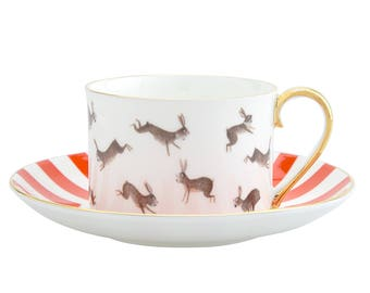 Fox and Rabbits Cup and Saucer