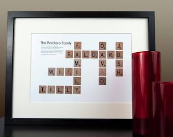Scrabble Frame, Scrabble Word Art, Family Scrabble Art, Scrabble Wall Art, Personalized Gift, Scrabble Tile, Scrabble Tile Frame, Tile Frame