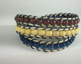 Red/White/Blue/Wood Bead/Silver Leather Cord/Peace Charm/Triple Wrap Bracelet/Patriotic/USA
