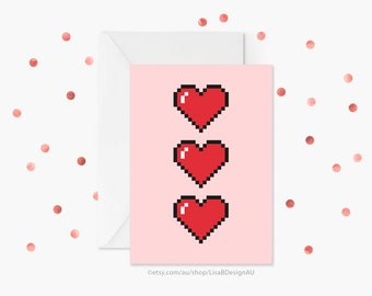 Mothers Day Card | Anniversary Card | Valentines Card | Pixel Hearts | Pixel Art | Card for Crush | I Love You Card | Gamer Gift | GCLACA601