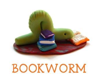 Polymer Clay Bookworm Inchworm
