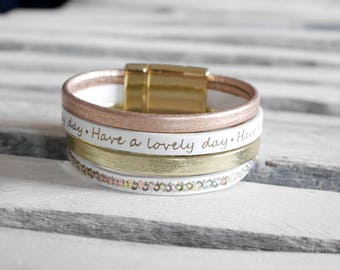 Gold Leather Cuff Bracelet, pink and white gold (BR128)