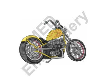 Motorcycle - Machine Embroidery Design, Chopper