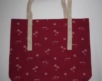 Understated Tropical-Themed Red Shopping/Tote Bag with Palm Trees