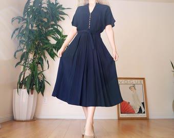 40's Navy Blue Dress / Vintage Midi Dress / 1940's Pleated Midi Dress / small - medium dress / 1940's Day Dress