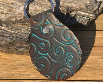 Distressed Turquoise Filigree Leather Key Fob with Suede