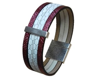 Leather Bracelet white Fuchsia cuff pink faux leather glitter, busy rectangular silver bead, magnetic closure, women gift