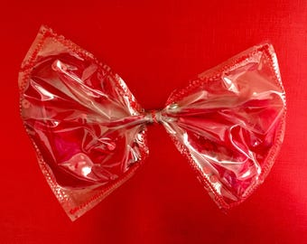 Stars, feathers and Red sequins hair bow, red sequins see-thru bow, stars hair bow, red stars, red feathers hair bow, clear hair bow, red