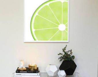 Green Lemon Slice Wall Art 30x30 cm