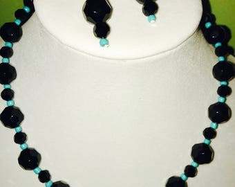 Black and Turquiose Bead Necklace
