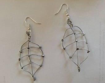 Welded metal leaf earrings