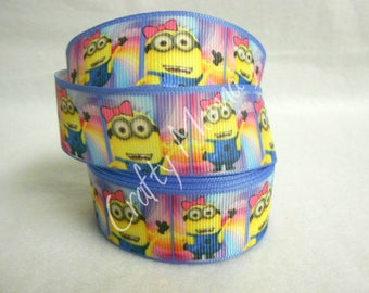 """ONE TIME OFFER Minion Girl on 1"""" Grosgrain Ribbon 5 yards with 1.00 shipping."""