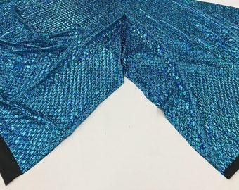 Spandex Mermaid Fabric Fish Tail Scale Sparkle Hologram Spandex Blue By Yard