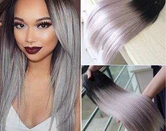 1B Roots/Silver Grey Remy Ombre Dip Dye  Balayage 9A Grade Human Hair Wefts Bundles & Closures Available in Straight or bodywave