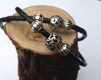 Real leather triple braided bracelets