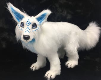 White wolf realistic poseable art doll