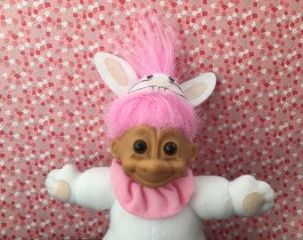 1990's Russ Easter Bunny Troll - Pink Hair