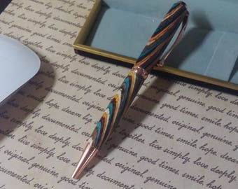 Want something a step up from slimline. Handcrafted comfort pen with varigated barrel and gold trim. Active