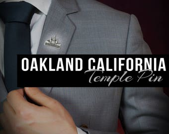 Oakland California pin lapel pin in Silver or gold antique finish